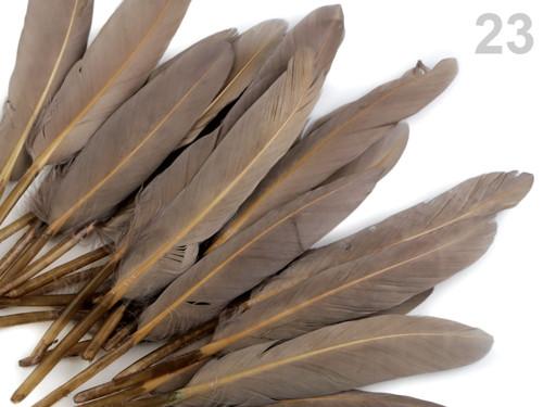 Ozdobné kachní peří, d.9-14 cm - šedá prachová