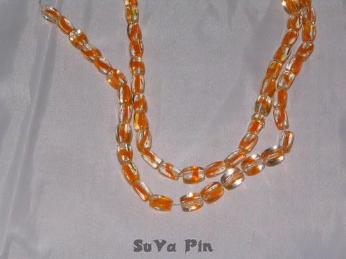 Korálky duhovky kvádr oranžová; 10x6mm; 19 ks