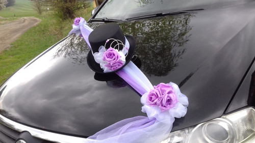 Svatební dekorace, výzdoba na auto ženicha CYLINDR