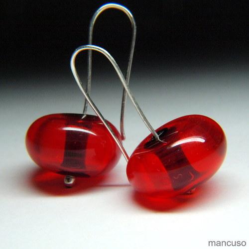 náušnice dutiny-červená na černé