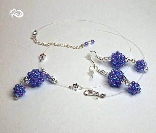 Modro fialové kuličky se stříbrnými kytičkami(168)