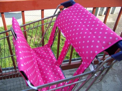 Vložka do nákupního vozíku - růžová s puntíkem