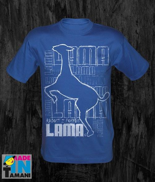 Pánské modré tričko s Lamou velký tisk 03