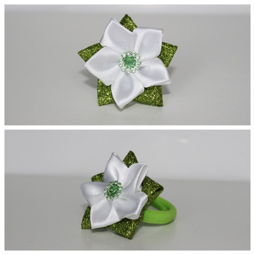 Gumička do vlasů - třpytivý zeleno-bílý květ