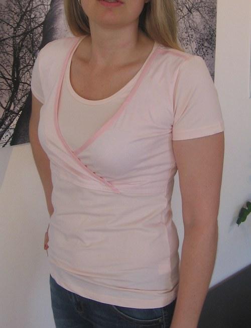 Diskrétní kojící tričko lososové - velikost XL