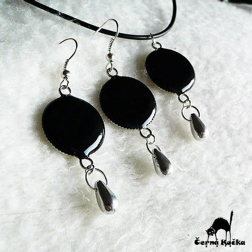 Stříbrné kapky Černé dámy (komplet)