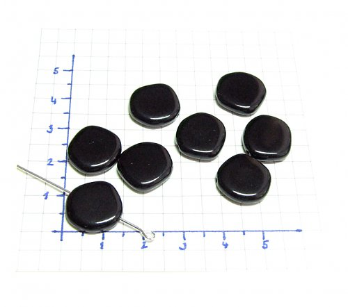 Černé korálky - placičky 15 mm, 13 ks