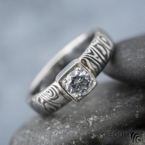 Prima Cube lady - Damasteel zásnubní prsten