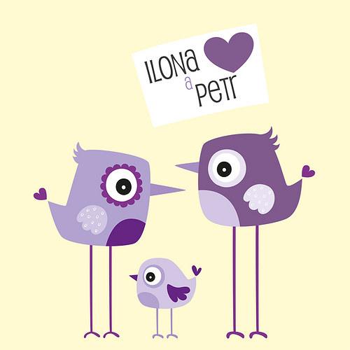 Svatební oznámení - Ptáčci - fialová