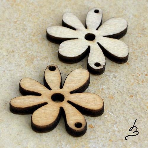 Dřevěný květ přírodní - 4 ks