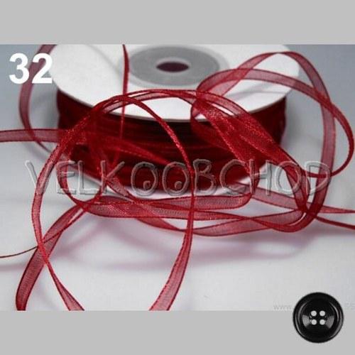 Stuha šifónová Base š.3mm (10m) - Biking Red