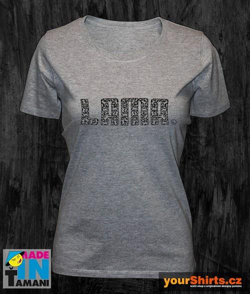 Dámské šedé melírové tričko s Lamou potisk 04
