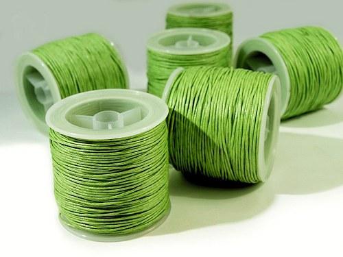 Šňůra bavlněná voskovaná 1mm x 20-30m / sv. zelená