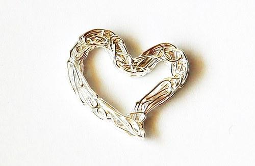 Srdičko z drátu - střibrné