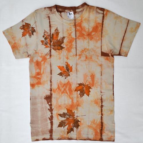 Béžovo-oranžovo-hnědé batikované triko s listy XS