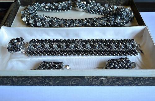 Souprava šperků, Jablonecko,  orig. etue