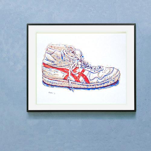 Originální ruční sítotisk Stará sportovní bota