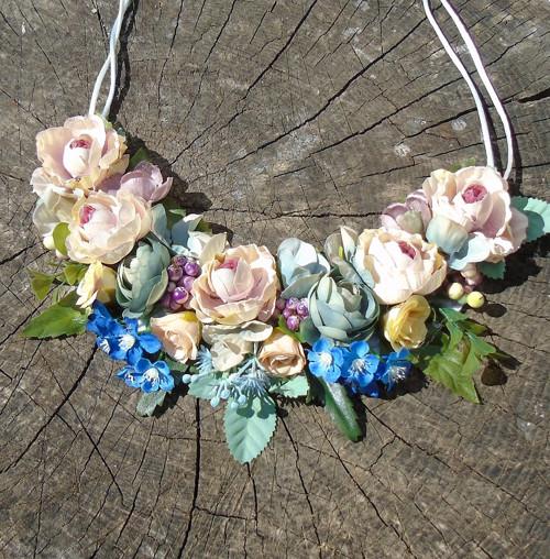 S modrými kvítky - náhrdelník