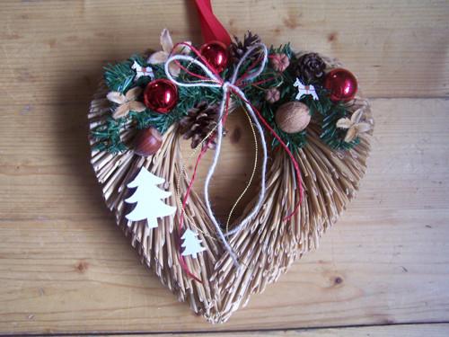 Slaměné srdíčko-vánoční