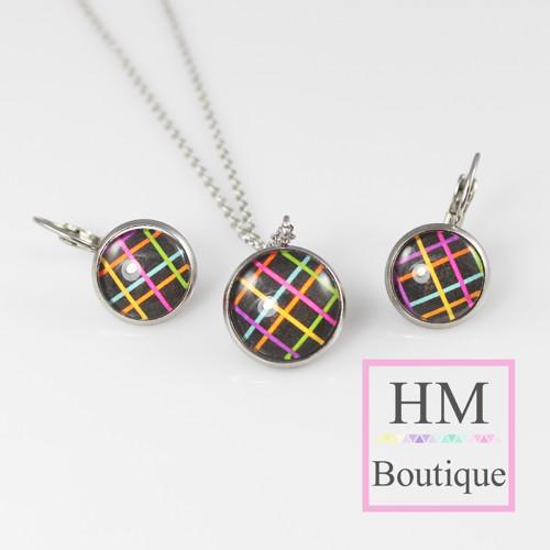 ocelový set - náušnice a náhrdelník barevné pruhy