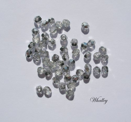 Korálky Ohňovky Crystal Silver 4 mm 50ks