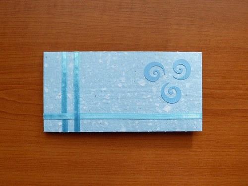 Obálka nejen na penízky z ručního papíru - modrá