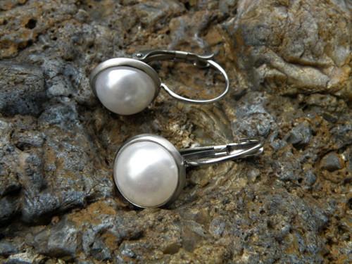 Naušnice -nerez-bílá perla