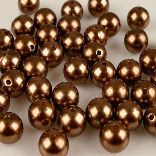 perly voskové/ hnědá / 15mm/ 4ks
