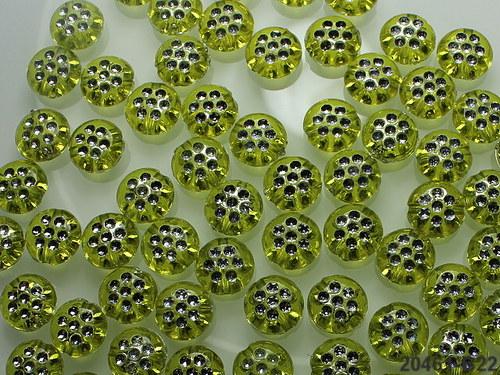20461-B22 Korálky s puntíky LIMETKOVÉ, bal. 20ks