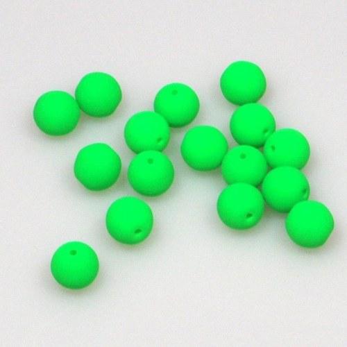 Neonové korálky 50 ks / 6 mm / zelené