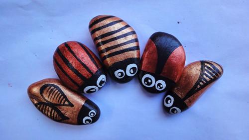 Malované kamínky - Brouci Měděňáci