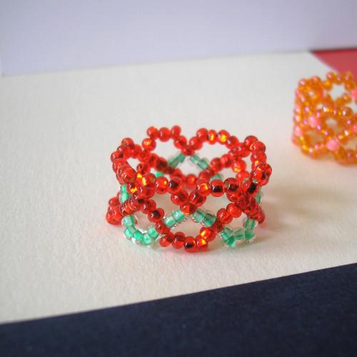 Prsten červený srdcový (8)