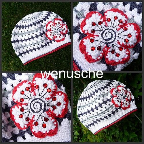 Bílo - šedo - červený baretek
