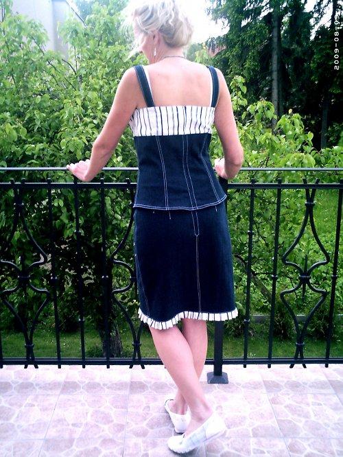 Sleva z 1443,-  Riflový top se sukní vel:40-42