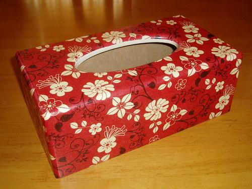 Krabička na kapesníky Bordó s květy