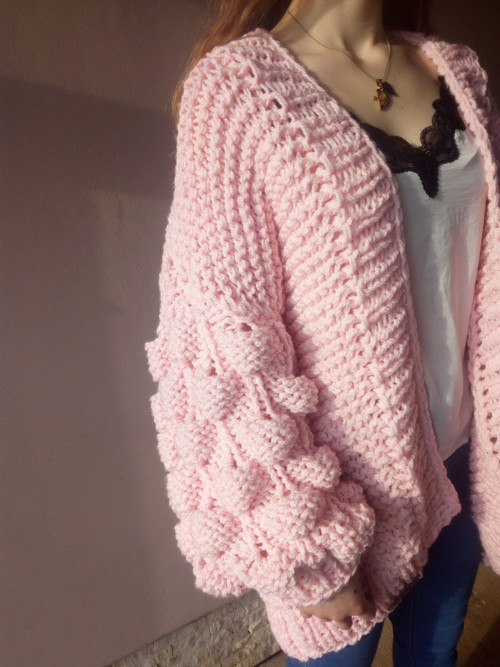 Bubble cardigan pink