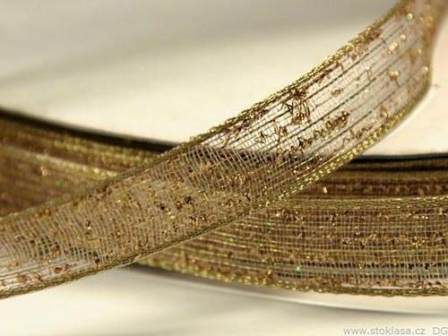 Stuha síťovaná š.15mm zlatá