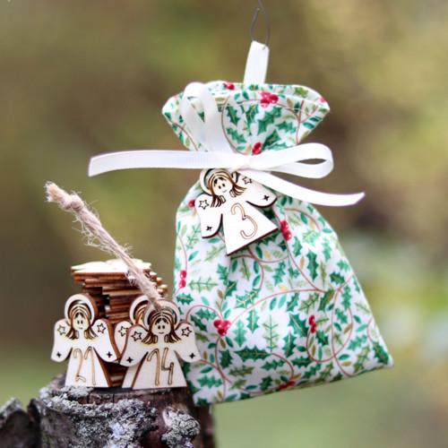 Adventní kalendář - pytlíčky s andílky - 24 ks