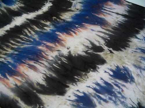 Batikovaná šála - modro-fialovo-černá