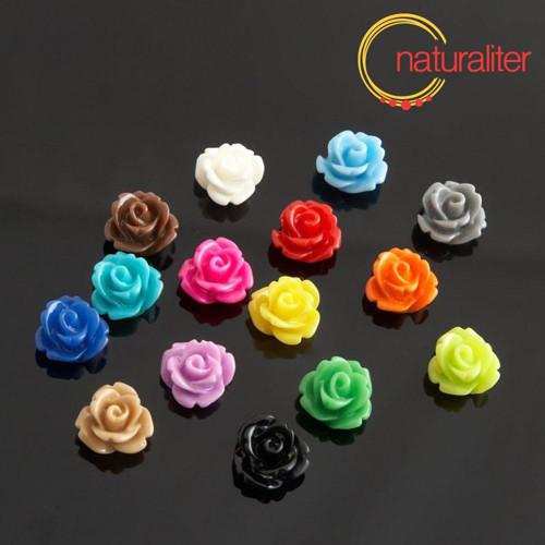 Růžička - kabošon z pryskyřice 10mm, směs, 10ks