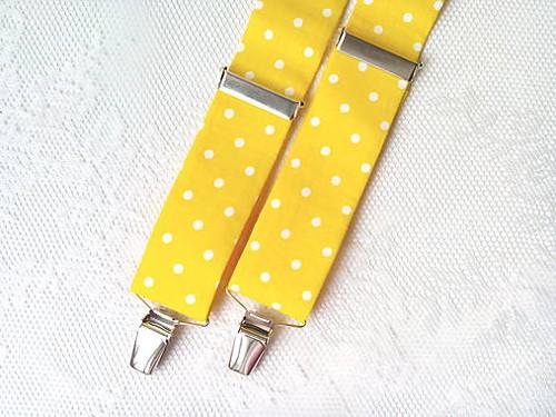 Suspenders (yellow/white polka dots)