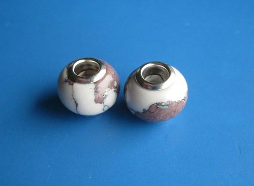Korálky - 2ks,hnědobílá imit. kamen