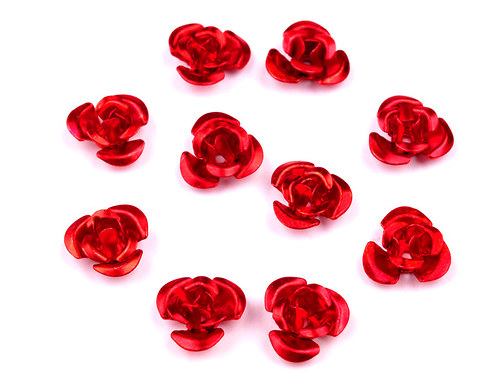 Růžička Ø10mm kovová červená, 10ks