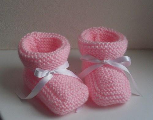 Pletené botičky - Růžovky