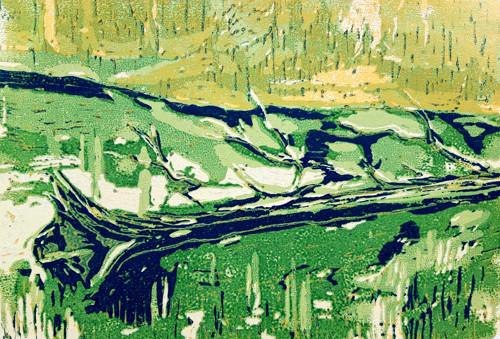 Jezero Laka, Šumava, sedmibarevný orig. linoryt