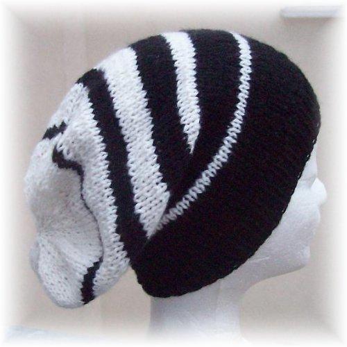 Pytlová čepice - černo-bílá