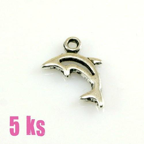 Přívěsek - malý delfínek obrys, 5 ks