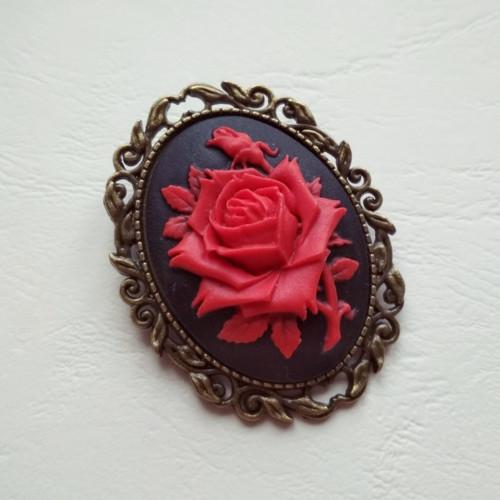 Kamej s růží - brož