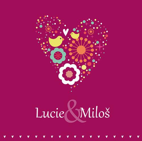 Svatební oznámení - Srdečně - Fuchsiový základ