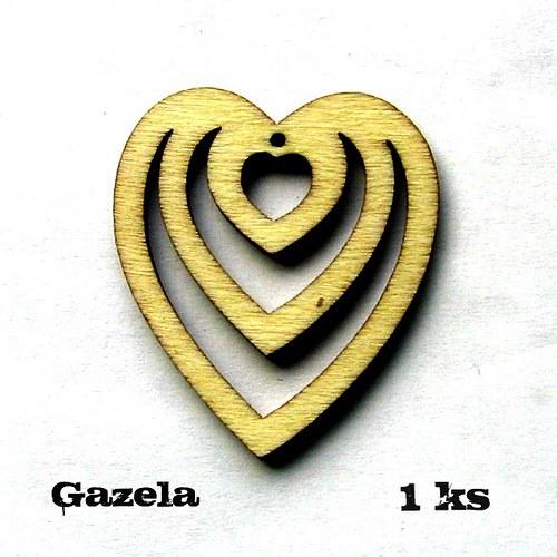 Přívěsek Srdce v srdci - 1 ks